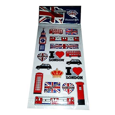 My London Souvenirs Lot d'autocollants Motif I Love London Drapeau Union Jack bus londonien Big Ben Taxi londonien