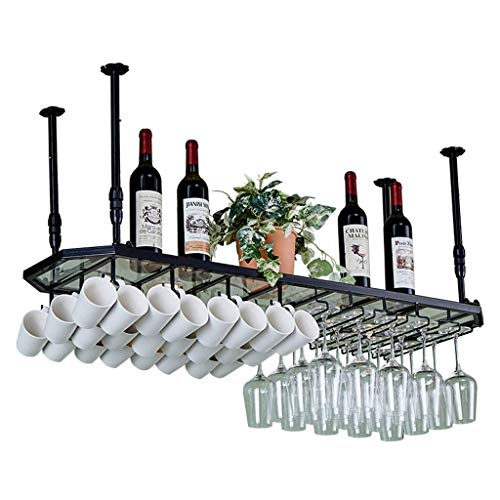 SUNTA Glaspaneel Stemware Racks, Deckenmontage hängen Weinflasche, Becher, Becher Speicherorganisator Einheit schwimmende Regale Bars Küche D & Eacute; COR - Höhenverstellbar