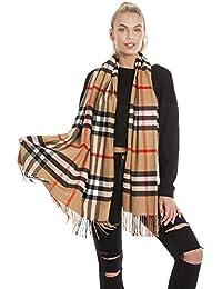 Womens large tartan checked scarf wrap shawl pashmina