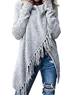 La Mujer Invierno Casual Borlas Con Flecos Irregulares Sólido Espesar Cardigan Abrigos Calidos