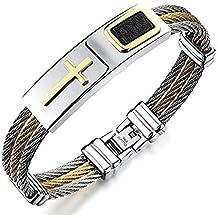 1713b0c11f825 Vittore, collection Cardinal – Bracelet croix en acier inoxydable pour homme  avec ...