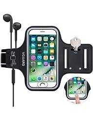 VGUARD Universel Brassard Sport [Compatible fonction ID Touch] [Compatible fonction ID Touch] Sport Sweatproof Anti-Sueur Etui Armband Unisexe avec Porte-Clés,Attache pour Câble, Porte-Cartes et Bandes Reflechissantes Bon Maintien pour de Course, Jogging, Vélo, Pêche avec 2 Sangles Réglables Compatible avec iPhone 8/7/6S/6/5S/SE/5, Samsung Galaxy S6/S5/S4/S3, Huawei, Wiko, LG, Motorola et les Autres Smartphones