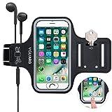 VGUARD Brazalete Deportivo para 5.1 Pulgados Moviles iPhone 8 7 6s 6 Caja del Brazalete Antideslizante para Deportes con Soporte para Llaves, Cables, Tarjetas y Banda Reflectante - Negro