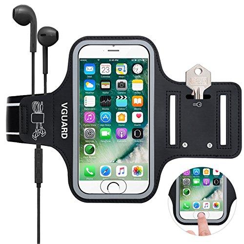 VGUARD Schweißfest Sport Armband für iPhone 8 7 6S 6 [ID Touch Kompatibel] [LEBENSLANGE GEWÄHRLEISTUNG] - Handytasche Sport / Sportarmband Hülle / Handy Armband mit Schlüsselhalter, Kabelfach, Kartenhalter und Reflekltierendes Band für Laufen / Wandern / Rad Fahren / Gymnastik Fitness Sweatproof Armband für iPhone 8/7/6/6S,Samsung Galaxy S7/S6/S5/S4,iPhone 5/5S/SE, Huawei, ASUS, LG, Motorola und weitere Smartphone bis zu 5,1 Zoll Bildschirm - Schwarz