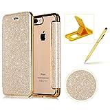 Coque iPhone 7/iPhone 8 Clapet,Herzzer Luxe Bling Paillettes Housse Étui PU Leather...