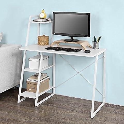 SoBuy® Bureau informatique, Secrétaire Table plan de travail avec 3 étagères cadre métal -Blanc, FWT29-W