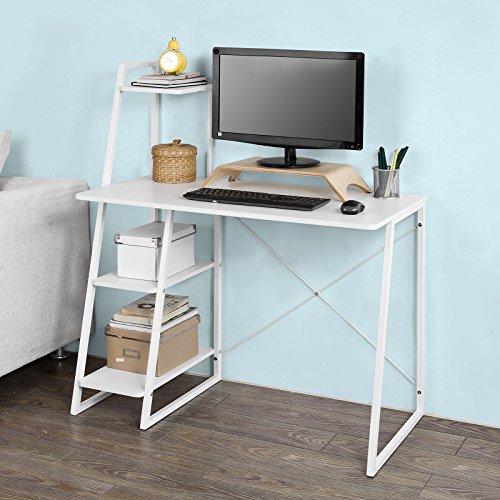 SoBuy® FWT29-W Schreibtisch(102x50x75/117cm), Computertisch, Arbeitstisch mit 3 Ablageflächen, weiß