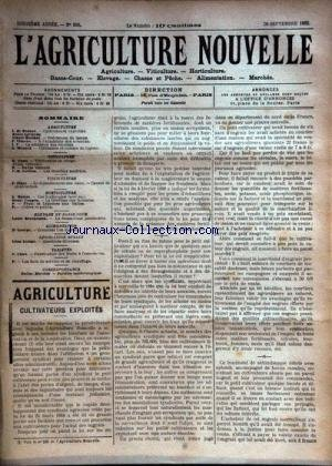 AGRICULTURE NOUVELLE (L') [No 596] du 20/09/1902 - AGRICULTURE PAR DE BEAUCE - BERTHOT - VIMEUX ET MENARD - HORTICULTURE PAR MOTTET - COUPIN - VITICULTURE PAR CANU - GUILLON - LA BASSE-COUR PAR BRECHEMIN - PISCICULTRE PAR ZIPEY - COMMENT L'ON DIGERE PAR GEORGE - FABRICATION DES FRUITS A L'eau-de-vie par canu