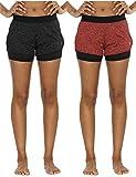 icyzone Damen Sportshort Funktions-Sport Hot Pants Fitness Yoga Kurze Hosen Sporthose Trainingshose Jogginhose 2 in 1 (Black Heather/Red Bud,M)