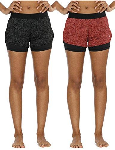 e764c3955b358d icyZone Damen Sportshort Funktions-Sport Hot Pants Fitness Yoga Kurze Hosen  Sporthose Trainingshose Jogginhose 2