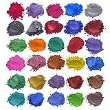 Dkings Tinture per Sapone Polvere di Mica - Polvere di pigmento per Bomba da Bagno - Sapone colorante - 30 coloranti x5g - Tintura di Resina, Ombretto, Fard, Nail Art