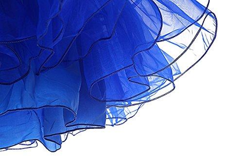 MisShow® Knielang Organza Petticoat Reifrock Unterrock 50s Vintage Underskirt TuTu Kleid Royal-Blau