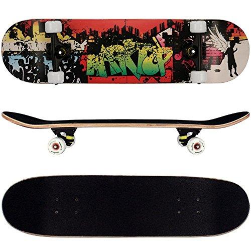 FunTomia® Skateboard mit ABEC-11 Kugellager Rollenhärte 92A und 9-lagigem Ahornholz (Skateboard Engel)