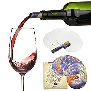 Agemore Wine Pourer Disc Set of 12 - Best Drip Stop Pour Spouts - Thin and Flexible Drop Stopping Disks