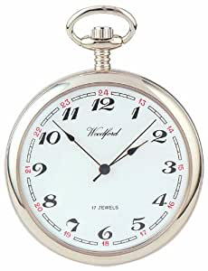 Woodford Mechanical Open-face Pocket Watch, 1023, Men's Chrome-Finished Arabic Dial with Chain (Suitable for Engraving)
