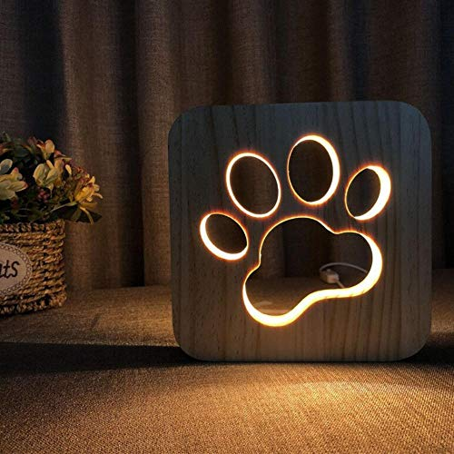 3D Usb Holz Nachtlicht Cat Claw Cup Massivholz Carving Hohl Kreative Tischlampe New Night Light -