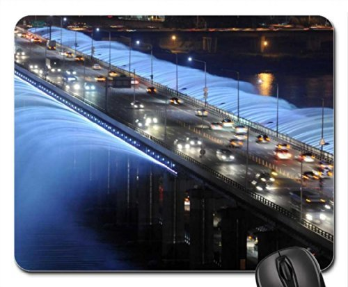 rainbow fountain bridge in soul korea Mouse Pad, Mousepad (Bridges Mouse Pad) -