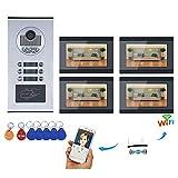 xc-2710 Sistema citofono videocitofonico cablato da 7 Pollici, videocamere Campanello/Appartamento, Telecamera HD 1000TVL con 6 Pulsanti / 4 Monitor