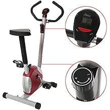 grapest Bicicleta Estatica y de Spinning Plegable Casa Bicicleta Fitness con Pantalla LCD Rojo