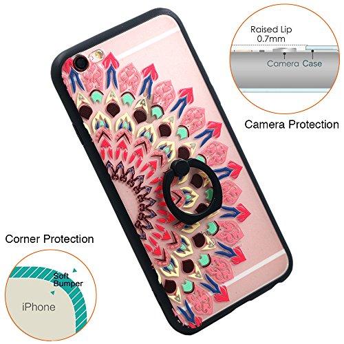 Coque iPhone 6S Plus, TrendyBox Transparent Noir Givré Anti-rayures Rotation Bague Case pour iPhone 6/6S Plus avec verre trempe film de protection (Bohémien) 1011