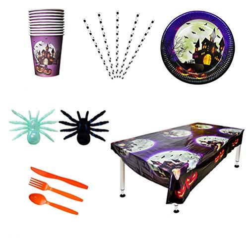 UPKOCH 11-teiliges Einweggeschirr-Set für Partys, Messer, Löffel, Gabeln, Pappteller, Tischdecke, Becher, Halloween-Party, 10 Geschirr + 1 Tischdecke.
