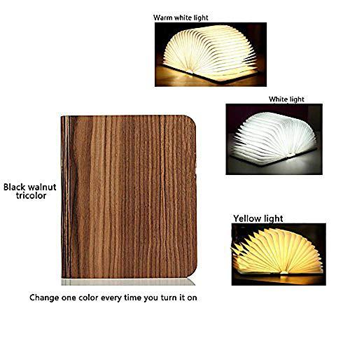 Mettime Faltbare LED-Stimmungsbeleuchtung,Buchlampe faltbar Tischlampe aus Holz mit,USB Kabel,Tischlampe Wandleuchte,Innenbeleuchtung,Tisch- & Nachttischlampen, colored black walnut, 2.5 * 17 * 21cm -
