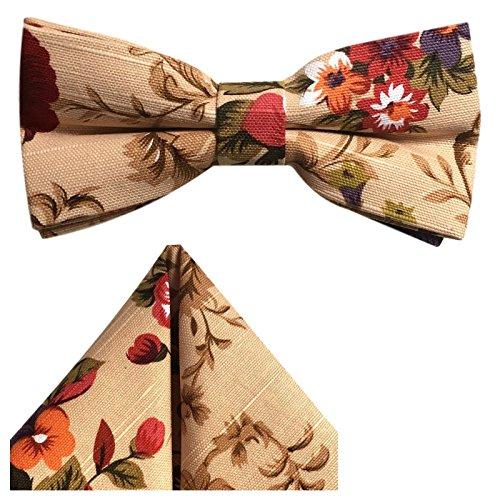 Baumwoll-leinen-muster (GASSANI 2-SET Vintage Beige Natur Fliege geblümt - fertig gebunden m Doppelflügel - Hochzeitsfliege retro festlich Herrenfliege Schleife - Kavalierstuch)