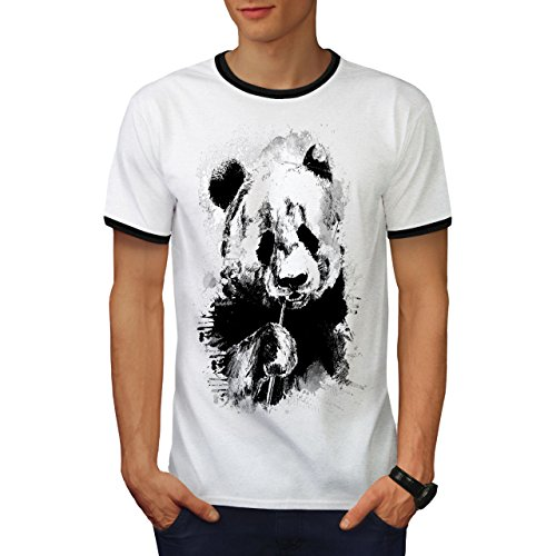 Essen Panda Gesicht Bambus Esser Herren S Ringer T-shirt | Wellcoda (Bambus Hawaii-shirt)