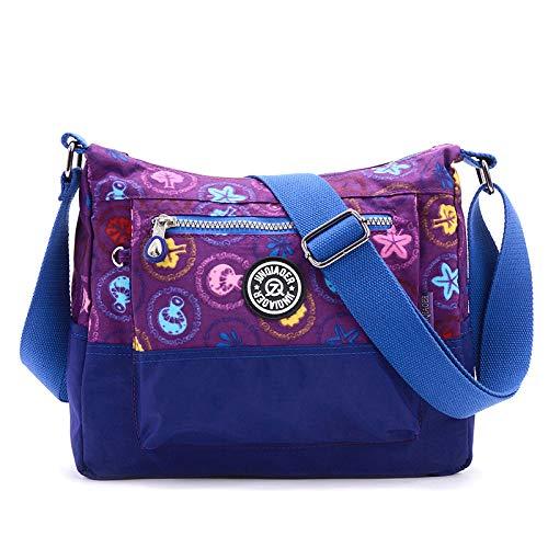 Nuova borsa da donna versione coreana del fiore diagonale cross-pack grande capacità impermeabile tracolla in nylon viola fungo