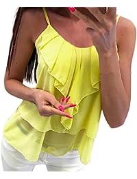 Camisole Damen Rovinci Sommer Frauen Ärmellos Einfarbig Rüschen Tank Tops  Sport O-Ausschnitt Camis Top Tanktops Mehrlagig T-Shirt… 19908700d5