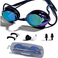 Swimming Goggles, Adjustable Swim Goggles Anti Fog UV Protection Triathlon with Free Protection Case Ear Plug Nose Clip & Protective Case for Women Men Adult Youth Kids (8+)