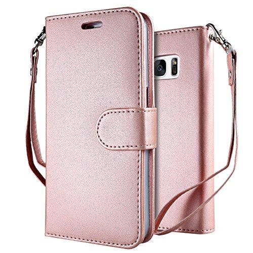 Samsung Galaxy S6 Funda Pink , Leathlux Puro Color Carcasa PU Cuero...