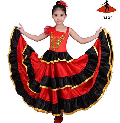 Flamenco Kostüm Girl - SMACO Girl Flamenco Kleid Bauchtanz Chiffon Rock Große Modern Dance Chorkostüme,180°,130CM