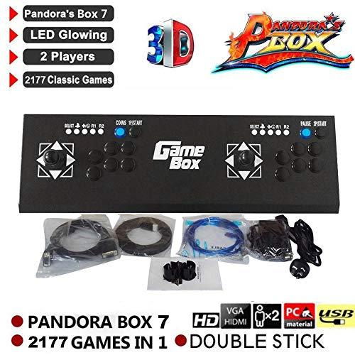 Waroomss Pandora's Box 7, 3D Home Arcade Game Console | Incluye 2177 Juegos HD | Full HD1080 Video | Controles De Juego De 2 Jugadores | HDMI/VGA/USB