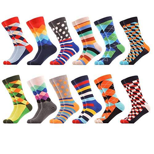 12-pair-Set Socken   12er set   Exklusive hochwertige Socken   Combo Pack   Fun Socken   Coole Muster   Baumwolle   Premium   Haltbar Komfortabel  Weibliche   Unisex   Geburtstag ()