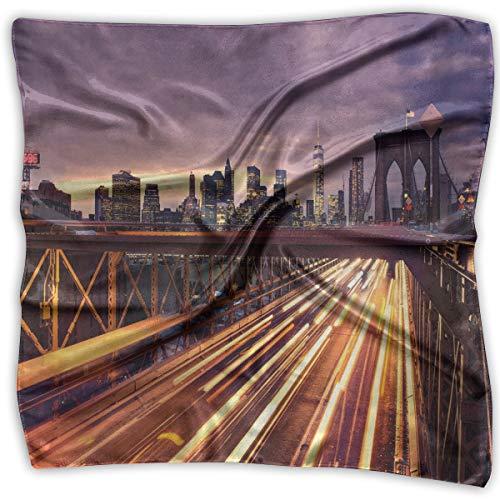 JJIAYI Mixed Designs Silk Square Scarves Bandana Scarf, Brooklyn Bridge At Night Car Traffic In New York United States Transport,Womens Neck Head Set New York Satin Bow