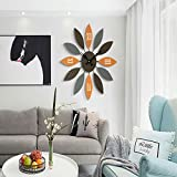 ZHEBAO Mediterrane Wanduhr Modernen Minimalistischen Retro Kreative Uhr Kunst Persönlichkeit Stumm Wohnzimmer Schlafzimmer Dekoration (24 * 24 * 1,8) Zoll,Brown,60 * 60 * 4.5