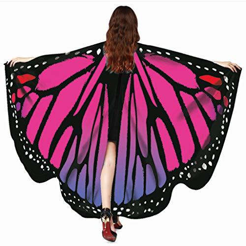 Auiyut Mädchen Schmetterlingsflügel Schal Schals Zubehör Karneval Cosplay Accessoires Bauch Flügel Tanz Kostüm Schmetterling Damen Nymphe Pixie Halloween Kostüm (HeißRosa, FREIEGRÖSSE)