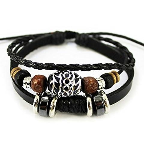 Plus amusant ovale Perles Noires Pure manuel multicouche Cuir Bracelet réglable