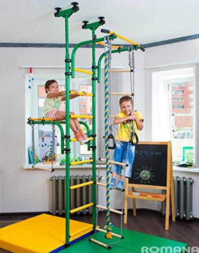 (Green)-Kids-Spielplatz für die Verbindung zu den Boden & Deckenleuchte/Indoor Training Fitnessstudio/Sport-Set mit Zubehör Geräte: Trapezstange, Seil, Kletterpflanze, Strickleiter, Turnringe Olympian -