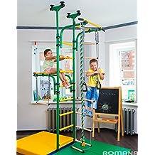 (verde) parque infantil para niños que conecta al suelo y techo/interior gimnasio Entrenamiento conjunto con accesorios equipos deportivos: barra de trapecio, cuerda, escalador, cuerda, gimnasia - olímpico