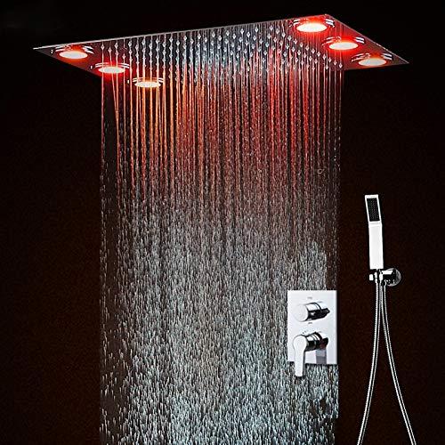 YAMEIJIA Heiße und kalte Decke Duschkopf Set elektrische LED Dusche Mischer Bad System / 360 * 500 versteckt Dusche Kit Massage Panel 360 Panel-system