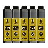 5 Druckerpatronen kompatibel zu LC123 Yellow für Brother DCP-J132W DCP-J152W DCP-J172W DCP-J552DW DCP-J752DW DCP-J4110DW MFC-J245 MFC-J470DW MFC-J650DW MFC-J870DW MFC-J4410DW MFC-J4510DW MFC-J4610DW MFC-J4710DW MFC-J6520DW MFC-J6720DW MFC-J6920DW