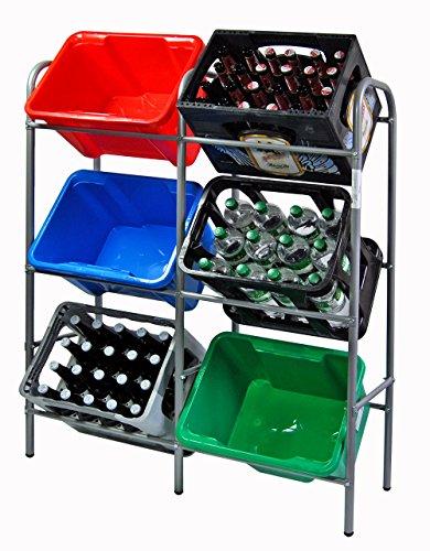 KS-DIREKT Kistenregal Flaschenkastenregal für 6 Kisten Regal für Getränkekästen 116 x 34 x 96 cm