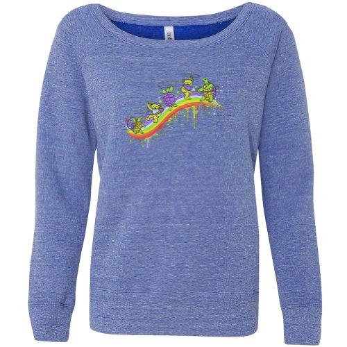 Grateful Dead-hemd (Grateful Dead–Rainbow Hoopers blau schulterfrei Junioren Shirt Gr. Medium, Blau - Blau)