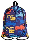 Aminata Kids - Kinder-Turnbeutel für Junge-n mit BAU-Fahrzeuge Feuerwehr Auto-s Sport-Tasche-n Gym-Bag Sport-Beutel-Tasche bunt dunkel-blau gelb rot...