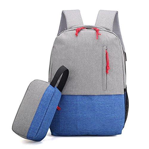 Unisex Casual Rucksack Laptop Rucksack Reisen Mit USB Lade Port Schultasche,Blue