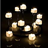 Little ants 12pcs LED Tear Drop Flameless Candles with Flickering Flashing candle/Tea Light Wax Dripped Battery-powered Built-in Button Battery Electronic candles(Warm White)