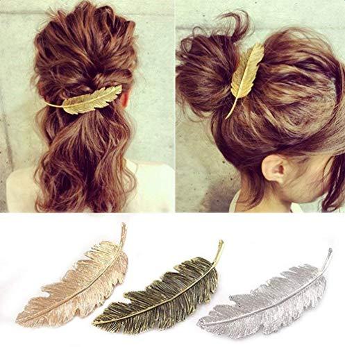 CINEEN 3 Farben Metall Feder Blatt Haarklammern Vintage Blatt förmigen Haarspangen Haarschmuck Kopfschmuck Haar Zubehör ...