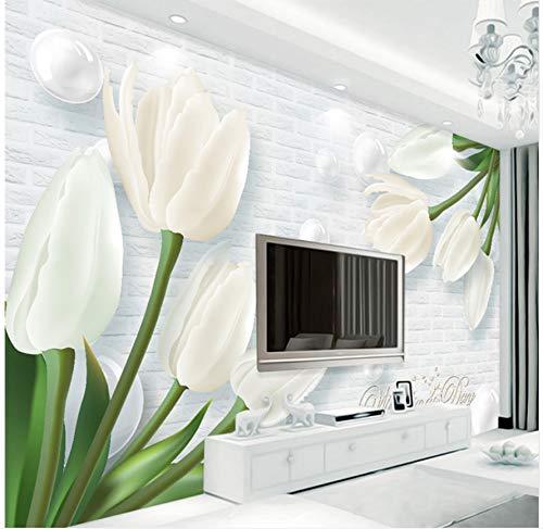 Yfxgstli Mural 3d Wallpaper Modern 3d Tulip Jade Living Room Tv Background Wallpaper Wall Covered Mural Custom Size
